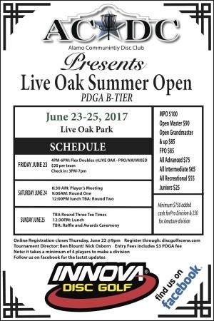 15th Annual Live Oak Summer Open Sponsored by Innova Discs graphic