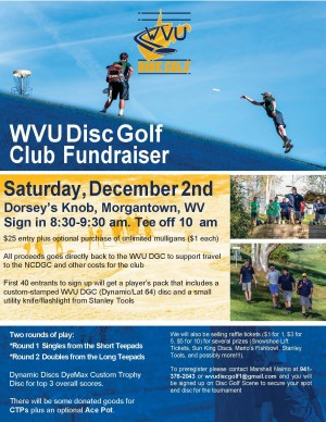 West Virginia University Disc Golf Club Fundraiser graphic