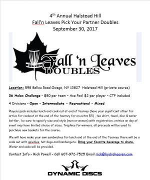 4th Annual Fall'n Leaves Pick Your Partner Doubles graphic