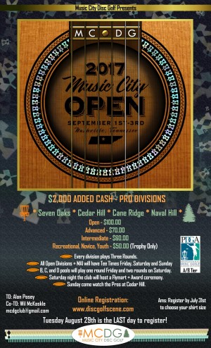 2017 Music City Open presented by Music City Disc Golf graphic
