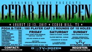 Dynamic Discs Discs Presents the Cedar Cedar Hill Open graphic