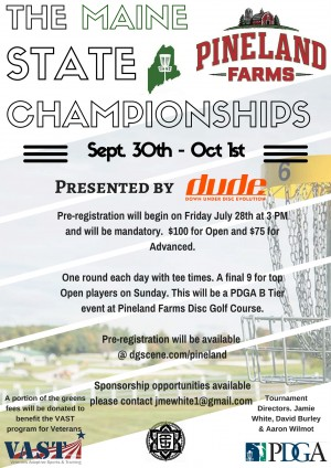 Maine State Championships at Pineland Farms Presented by Innova Discs & Dude Clothing graphic