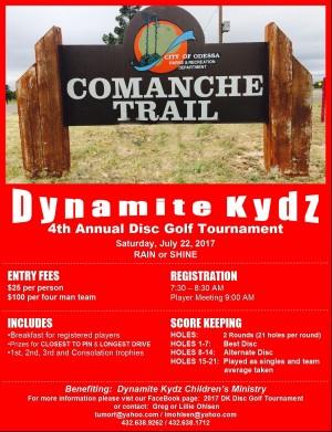 2017 Dynamite Kydz Disc Golf Tournament graphic