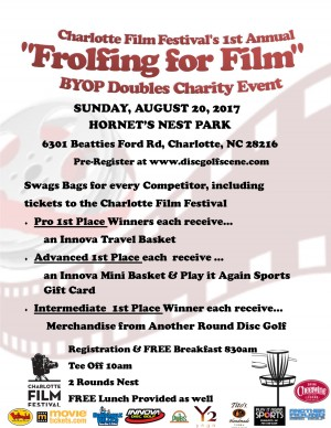 """Charlotte Film Festival's 1st Annual """"Frolfing for Film"""" BYOP Doubles Charity Event graphic"""