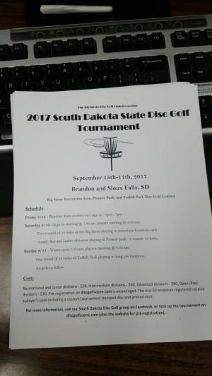 2017 South Dakota Disc Golf Championships graphic
