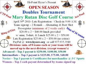 "High Point Hyzers Present ""OPEN SEASON DOUBLES"" graphic"