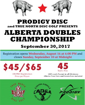 Prodigy Disc and True North Disc Golf presents Alberta Provincial Doubles graphic