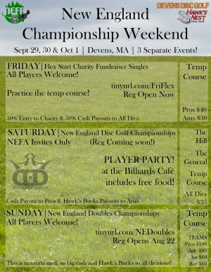 2017 New England Disc Golf Championships presented by Two Roads Brewing graphic