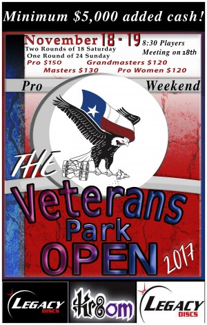 The Veterans Park Open pro weekend presented by Legacy Discs graphic