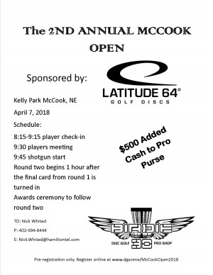 2nd Annual McCook Open Sponsored by Latitude 64 graphic
