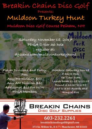 Breakin Chains Disc Golf Presents  2017 Muldoon Turkey Hunt graphic