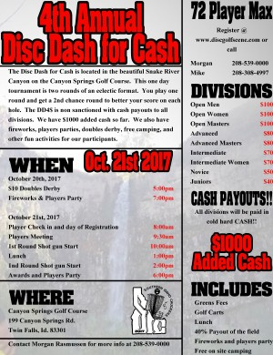 4th Annual Disc Dash for Cash graphic