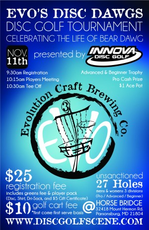 Evo's Disc Dawg Bash Celebrating Bear presented by Innova Disc Golf graphic