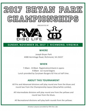 2017 Bryan Park Championships Sponsored by RVA DiscLife and Dynamic Discs graphic
