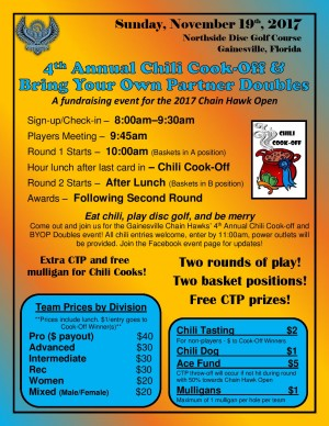 Chain Hawks 4th Annual Chili Cook-off and Bring Your Own Partner Doubles Event graphic