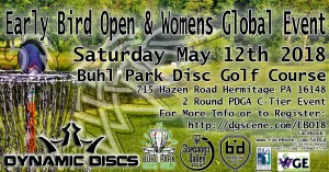 Early Bird Open 2018 & PDGA Women's Global Event graphic