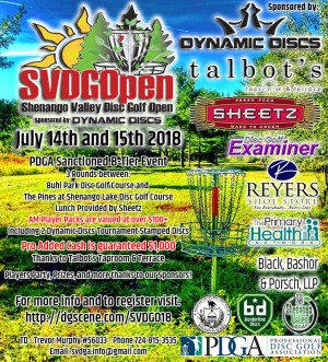 Shenango Valley Disc Golf Open 2018 sponsored by Dynamic Discs graphic