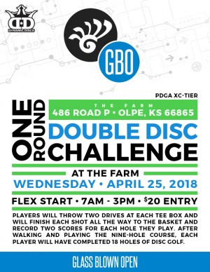 2018 Glass Blown Open Discstock (One Round Double-Disc Challenge) at the Farm (Olpe) presented by Truly Unique Disc Golf graphic