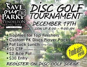 """Save our Park"" Disc Golf Tournament graphic"