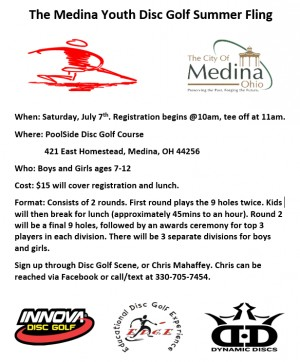 Medina Youth Disc Golf Summer Fling @PoolSide Disc Golf Course for ages 7-12 graphic