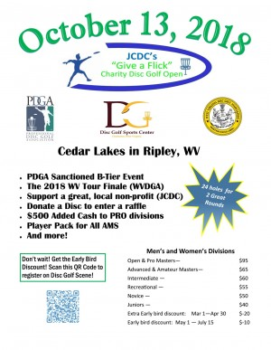 JCDC's Give a Flick Charity Disc Golf Open -- GDG $5K/$10K event graphic