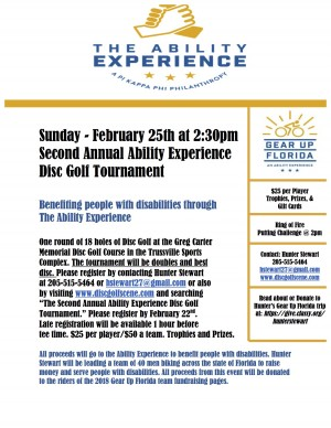 The Second Annual Ability Experience Disc Golf Tournament graphic