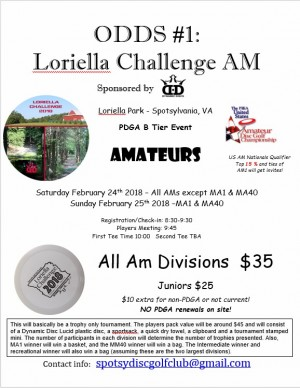 ODDS #1 - Loriella Challenge AM : Sponsored by Dynamic Discs - Only MA1 & MA40 graphic