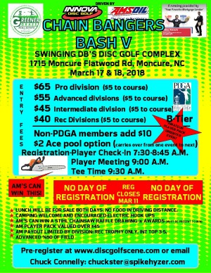 Spike Hyzer's:Chain Bangers Bash Driven by Innova and contributions from Swinging DB's Disc Golf Complex graphic