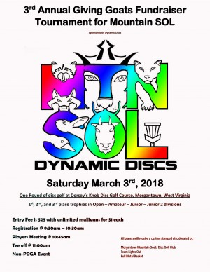 3rd Annual Giving Goats Fundraiser Tournament for Mountain SOL sponsored by Dynamic Discs graphic