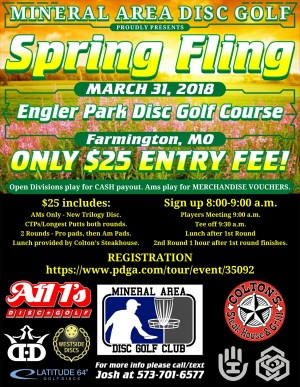 Mineral Area Disc Golf Spring Fling graphic