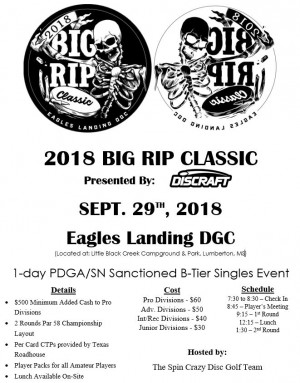 2018 Big Rip Classic Presented by Discraft graphic