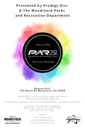Par 2 event at Dupree park presented by Prodigy disc and Woodstock Parks and rec graphic