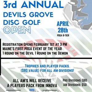 3rd annual Devils Grove Disc Golf Open graphic