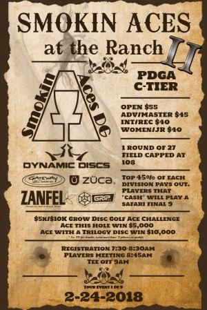 Smokin Aces at The Ranch II: Sponsored by Dynamic Discs - GDG $5K/$10K event graphic