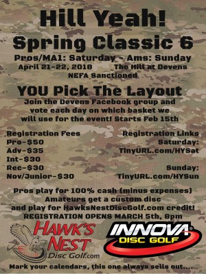 Hill Yeah! Spring Classic 6 - Saturday Registration (All Pro and MA1) graphic