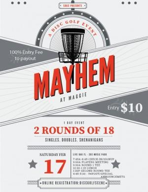 Mayhem at Maggie graphic