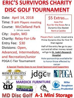 Eric's Survivors Charity Disc Golf Tournament graphic