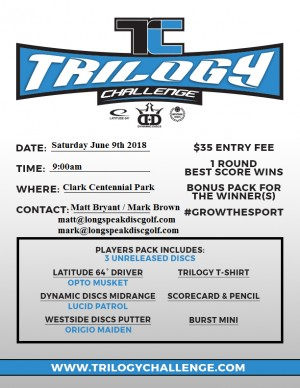 2018 Trilogy Challenge presented by Longs Peak Disc Golf Club graphic