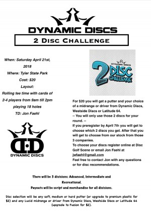 Dynamic Discs 2 Disc Challenge at Tyler 2018 graphic