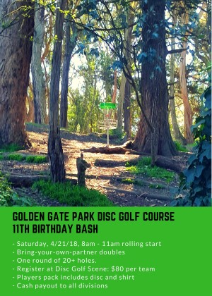 Golden Gate Disc Golf Course 11th Birthday Bash graphic