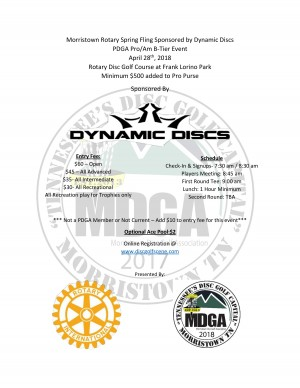Morristown Rotary Spring Fling Sponsored by Dynamic Discs graphic
