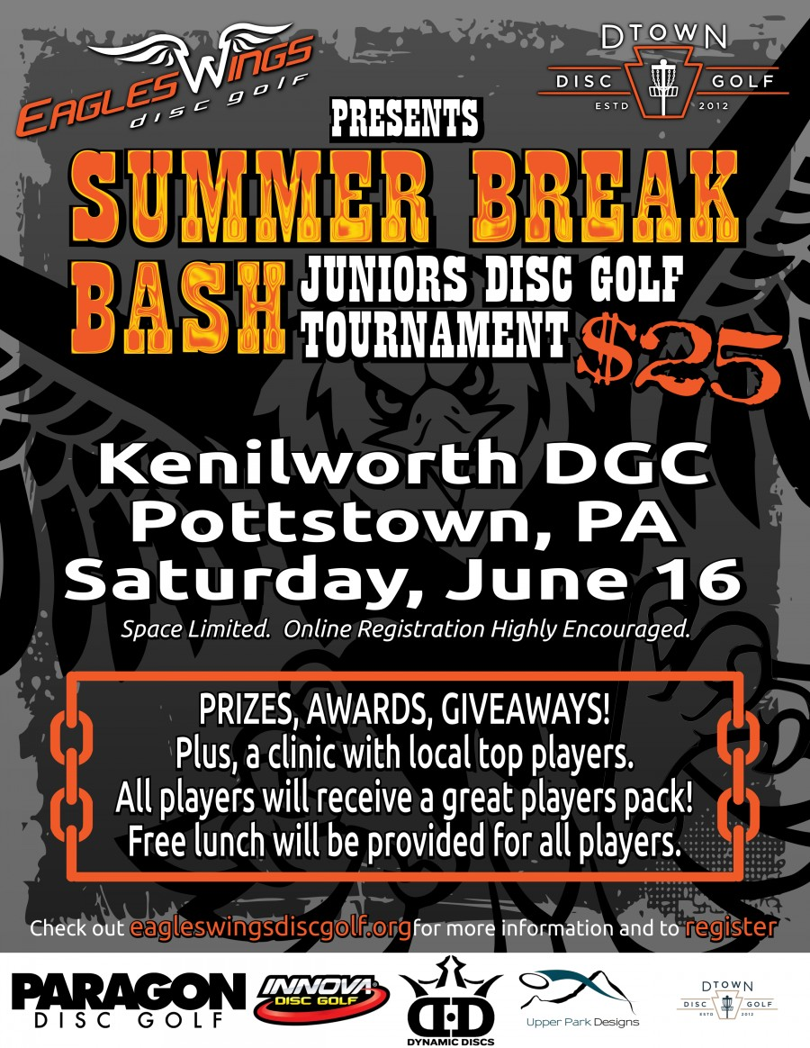 2018 Eagles Wings Disc Golf Kenilworth Summer Break Bash graphic