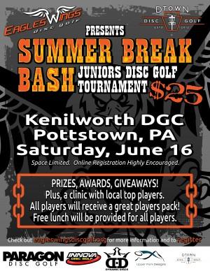 2018 Eagles Wings Disc Golf Kenilworth Summer Break Bash graphic