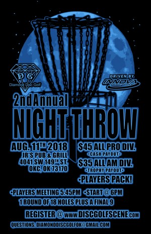 Innova presents: 2nd Annual Diamond Disc Golf Night Throw 2018 graphic