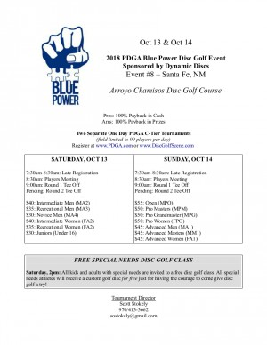 2018 Blue Power Event #8 Sponsored by Dynamic Discs- Santa Fe, NM - MA2, MA3, MA4, FA2, FA3, Juniors graphic