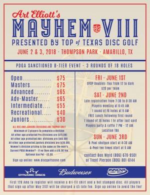 Top of Texas Disc Golf Presents: Art Elliott's Mayhem IX graphic