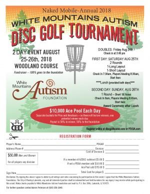 White Mountain Autism Disc Golf Tournament graphic