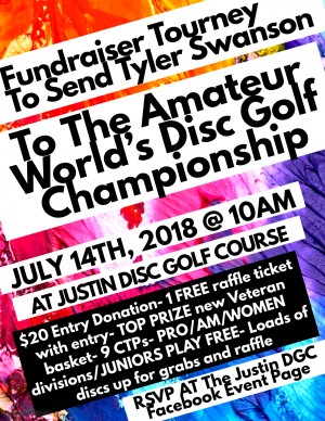 Fundraiser Tourney To Send Tyler Swanson To Amateur World's Disc Golf Championship graphic