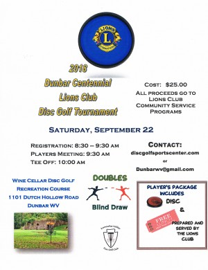 2018 Dunbar Centennial Lions Club Disc Golf Tournament graphic