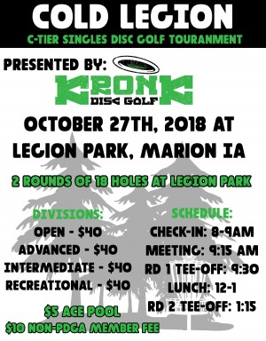Cold Legion presented by Kronk Disc Golf graphic
